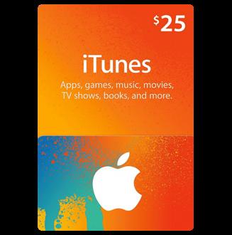 بطاقة اي تيونز 25 $...